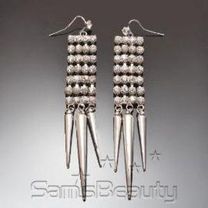 Jewelry - Silver Tone Punky Rhinestone Earrings